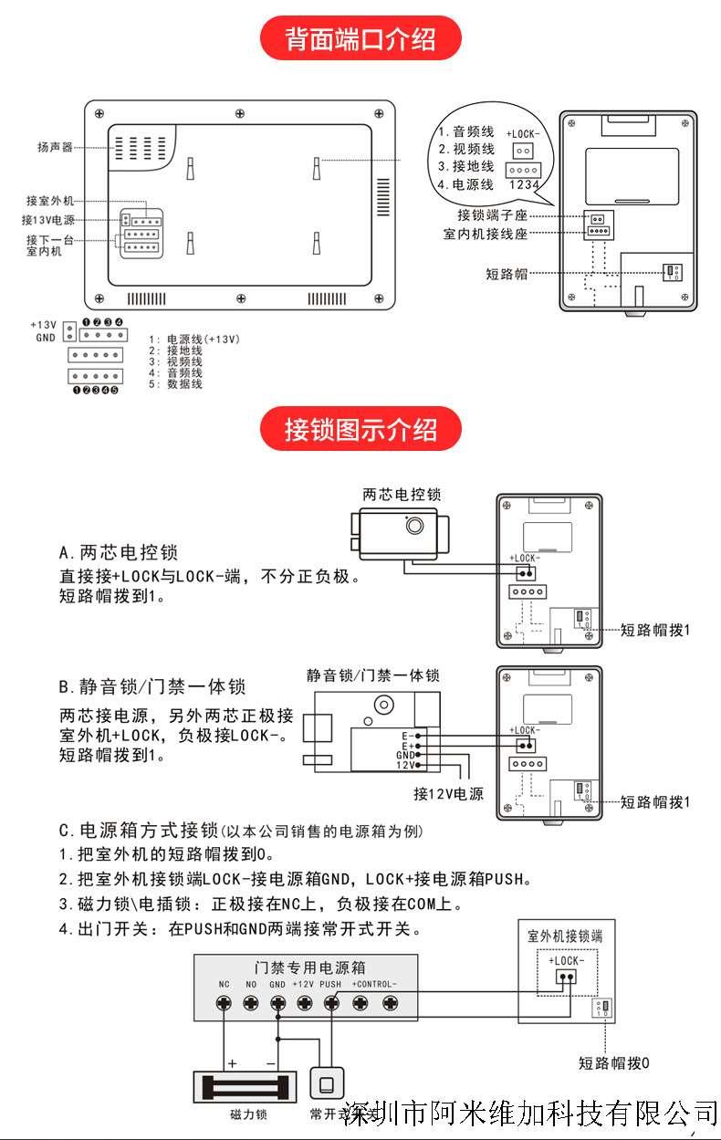 可视对讲门铃家用别墅有线防水智能楼宇对讲电子门禁